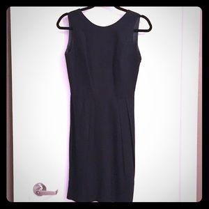 DONNA RICCO BLACK LINEN SHEATH DRESS W/CUTOUT BACK